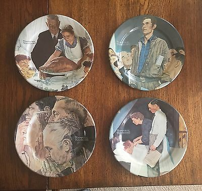 """NORMAN ROCKWELL FOUR FREEDOMS series set Of 4 Metal Plates His """"masterpieces"""""""