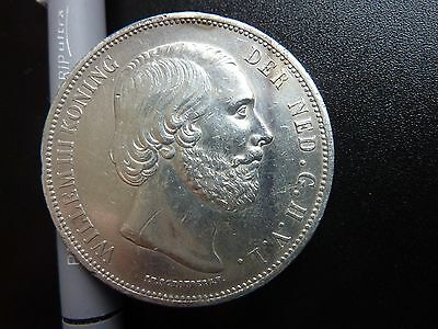 1870 Netherlands 2 1/2 Gulden Large Silver Coin