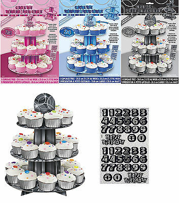 Customisable Any Age 3 Tier Birthday Party Cupcake Stand Tree Decoration