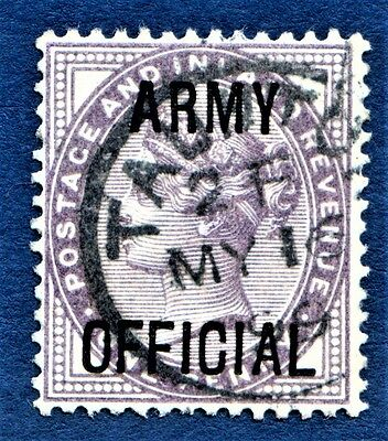 GB QV 1896 SG O43 lilac 1d Army Official Very Good Used