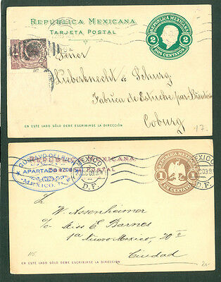 MEXICO 1909/12 two commercially used Sationery Cards (one Uprated)