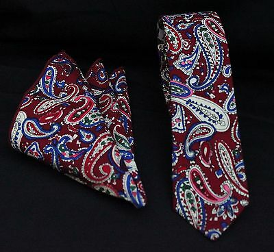 Tie Neck tie with Handkerchief Slim Red Paisley Quality Cotton MTB08