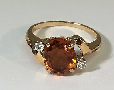 Stunning Large 14K Gold Oval Cut Citrine & Diamond Ring -Size 6 1/4 - 062514