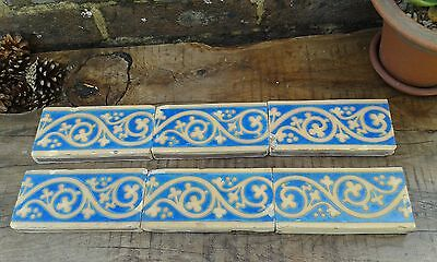 Rare Minton  Encaustic Border Tiles Barry & Pugin Gothic Revival set of six