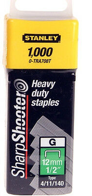 "12mm (1/2"") STANLEY HEAVY DUTY STAPLES 0-TRA708T (TYPE 4/11/140) - Pack of 1000"