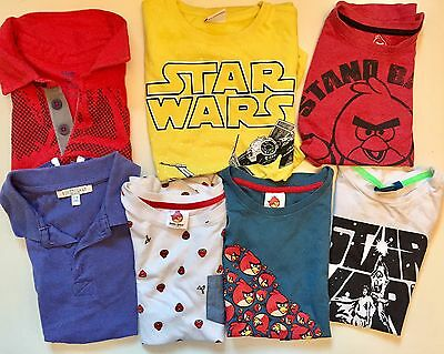 Bundle Of 7 T-Shirts For A Boy Age 7-8, Star Wars, Angry Birds, Spider-Man