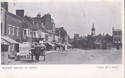 Pc St Neots Market Square Street Scene  Cambs Posted 1906