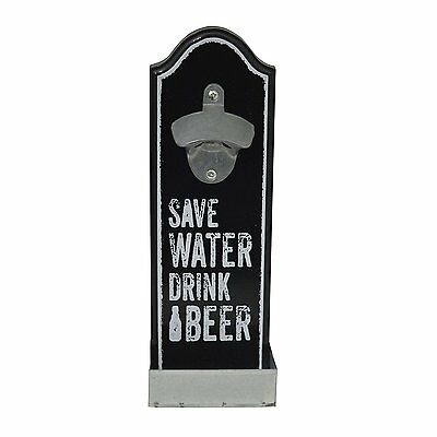 "Retro Vintage Wall Mounted ""Save Water"" Bottle Opener Black"