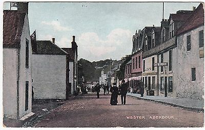Aberdour postcard: Wester Aberdour High Street c1910 colour Fife Golf Restaurant