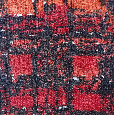 1950s/60s VINTAGE COTTON BARKCLOTH FABRIC - RED PAINTERLY CHECK DESIGN