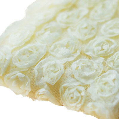 3 Yards 6-Rows 3D Chiffon Rose Flower Lace Trim Embroidered Applique Beige