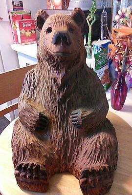 """17"""" Chainsaw  Sitting Bear Carving Wooden Carved Bear Statue  Wood Craft"""