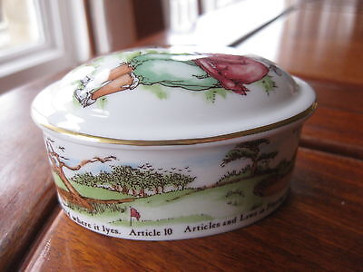 Royal Doulton ceramic trinket box with golfing interest