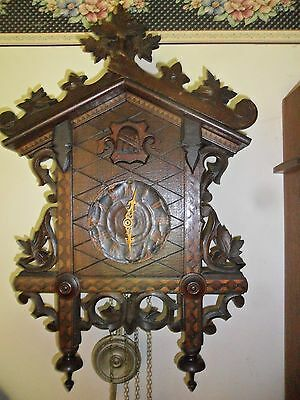 Large Antique Black Forest Inlaid Railroad Cuckoo Clock Complete  Works Great