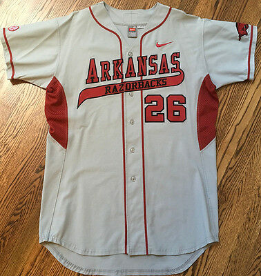Arkansas Razorbacks Nike Authentic Grey Baseball Game Used / Issued Jersey