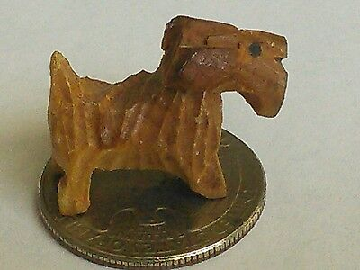 Vintage Miniature Carved Wood Scottie Dog