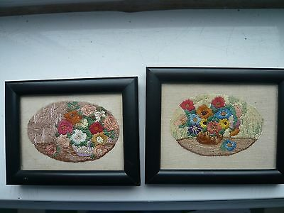 Antique 1930s Beautiful Embroidered  and Framed Flower pictures - Flowers, hand