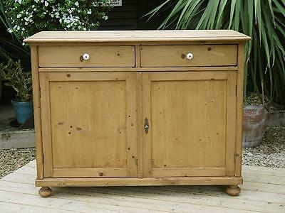 Fabulous & Large Old Antique Stripped Pine Dresser Base/sideboard/cupboard