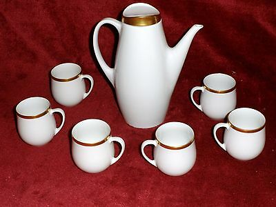 RARE Thomas of Germany - White Large Gold Band - Coffee Pot & 6 x Espresso cups