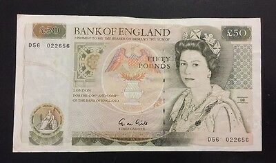 Bank Of England £50 Note, G M Gill EF Condition D56 022656.