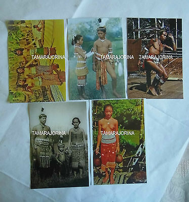 BORNEO SEA Dyak Dayak MAIDENS FAMILY DANCING 1880 TO 1980s 5 REPRO PHOTOS