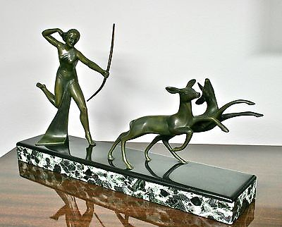 ART DECO STATUE BRONZE sign. MICHEL DECOUX