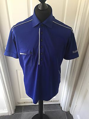 Galvin Green Mens Polo Shirt - Blue/White - Size Large