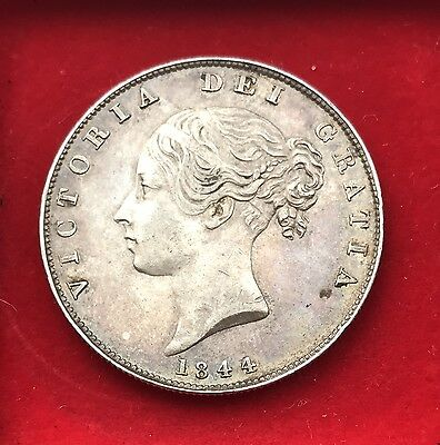 High grade Queen Victoria half crown mirror fields 1844