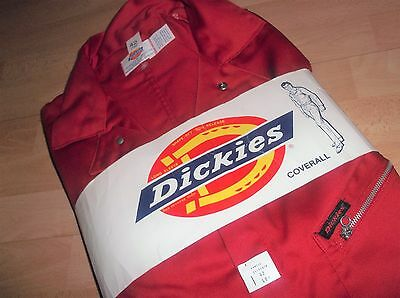 Vintage Garage DICKIES 1970's RED mechanic COVERALL Overall boiler suit 42 L NEW