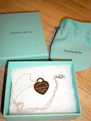 Tiffany & Co. Sterling Silver Return To Tiffany Heart Tag Necklace NEW - 18""