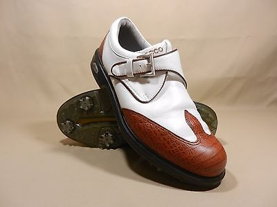 ECCO Women's SZ 39 US 8 - 8.5 White Brown Leather Golf Spike Shoes