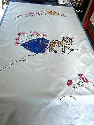 Vintage Royal Society Embroidered Applique Childs Coverlet The Buggy Ride