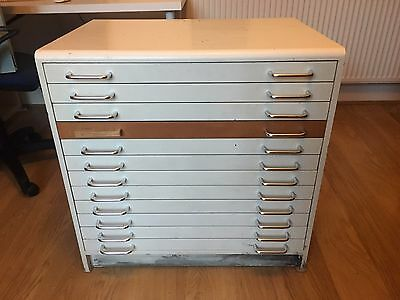 Architects style plan chest with 12 drawers, maps, artwork, storage