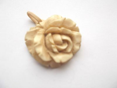 Vintage Antique Carved Rose Pendant