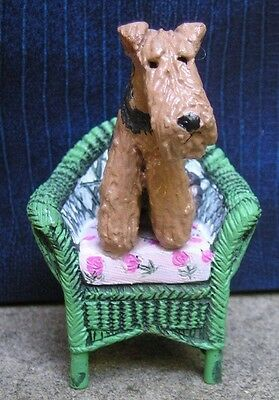 Airedale Terrier on a Resin WICKER CHAIR!