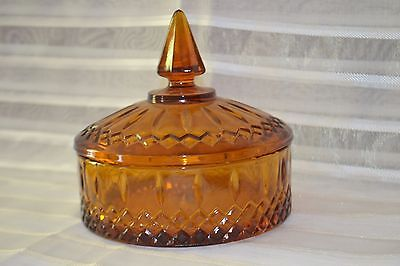 "Vintage Amber Depression Glass Candy Dish with Lid Indiana Pattern 6""x 5 1/2"""
