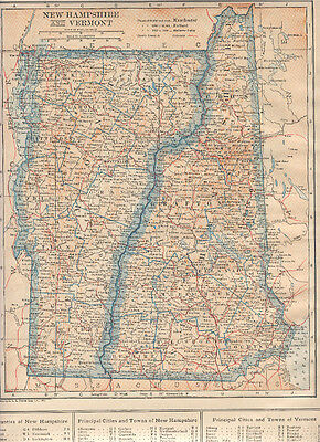 1921  Original   Map  NEW HAMPSHIRE VERMONT / NEVADA  Dated