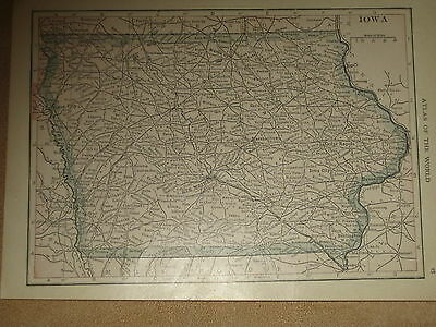 1923   Funk & Wagnalls Vintage  Map KANSAS / IOWA