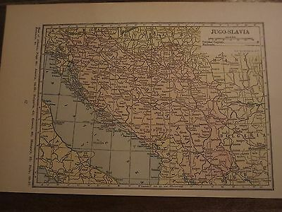 1923   Funk & Wagnalls Antique MAP  RUMANIA / JUGO SLAVIA