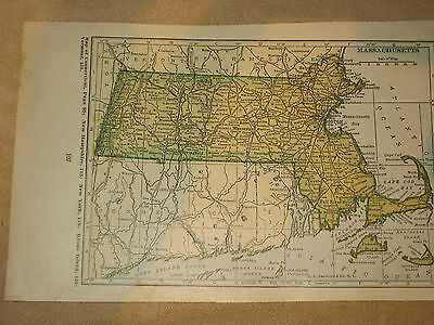 1927 Original Vintage Funk & Wagnalls Map MASSACHUSETS USA