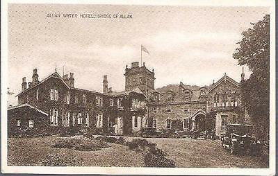 Bridge of Allan, Stirlingshire - Allan Water Hotel, old cars - postcard c.1930s