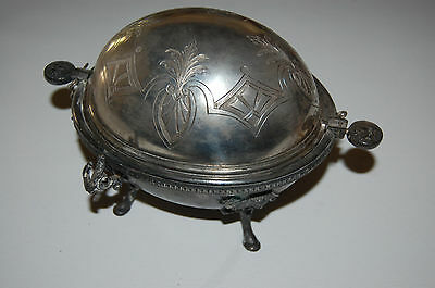 1870's Silver Plate Covered Butter Dish - Egyptian Revival, Manhattan Plate Co.