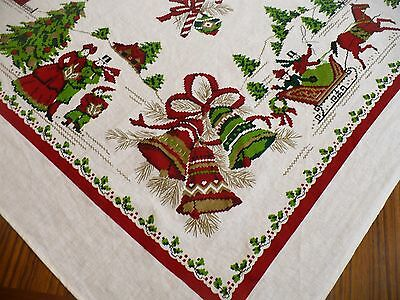 Vintage Christmas Tablecloth Horse Sleigh Bells Holly Trees Ornaments Candy Cane