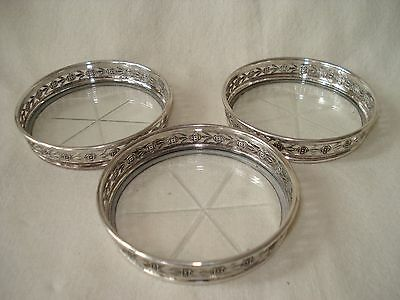 3 Birks Canada sterling silver & glass coasters