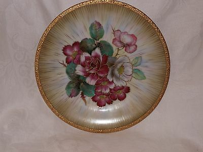 """Chubu China 9"""" Plate*Occupied Japan*Gold Gilt*Pink*White*Roses*Hand Painted"""