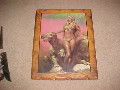 Boris Vallejo Primaeval Princess 1976 Large Poster on Wood Backing