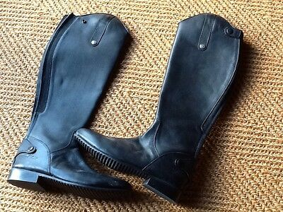 Mark Todd black leather long riding boots short leg wide calf size 42 brand new