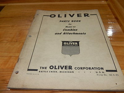 Oliver Parts Book for #35 Combine and Attachments