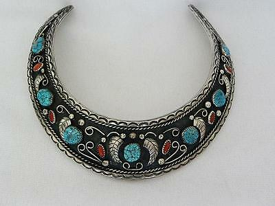 Native American Navajo Huge Sterling Pendant Choker w Coral & Turquoise Stones