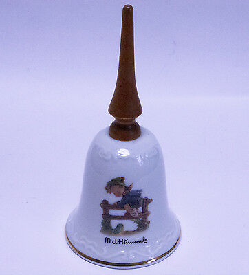"""Vintage Hummel Porcelain Bell With Wooden Handle - """"Retreat to Safety"""""""